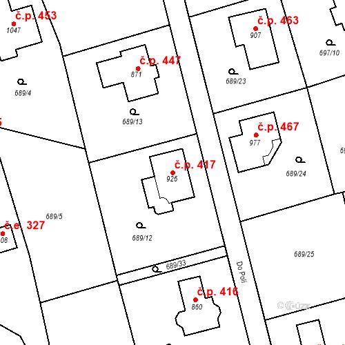 Katastrální mapa Stavební objekt Psáry 417, Psáry