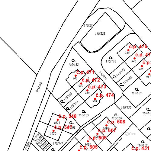 Katastrální mapa Stavební objekt Dolní Jirčany 471, Psáry
