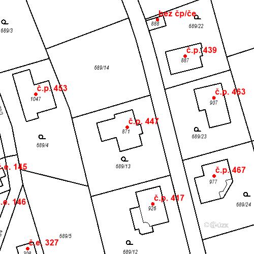 Katastrální mapa Stavební objekt Psáry 447, Psáry