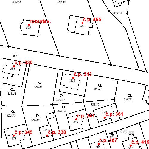 Katastrální mapa Stavební objekt Dolní Poustevna 343, Dolní Poustevna
