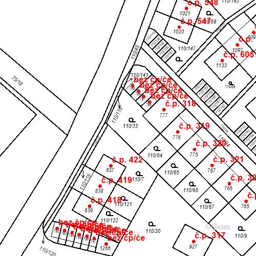 Katastrální mapa Stavební objekt Psáry 418, Psáry