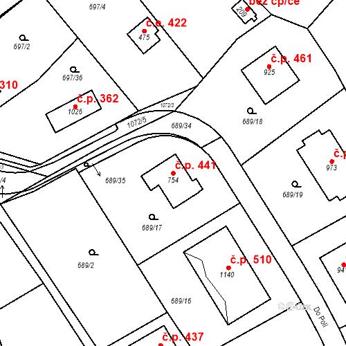 Katastrální mapa Stavební objekt Psáry 441, Psáry