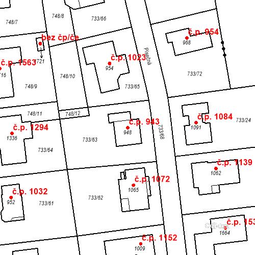 Katastrální mapa Stavební objekt Jesenice 943, Jesenice