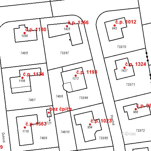 Katastrální mapa Stavební objekt Jesenice 1193, Jesenice