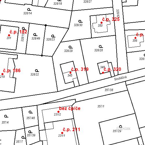 Katastrální mapa Stavební objekt Dolní Poustevna 319, Dolní Poustevna