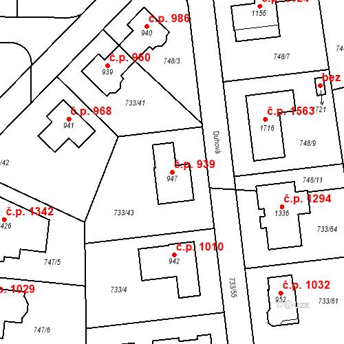 Katastrální mapa Stavební objekt Jesenice 939, Jesenice