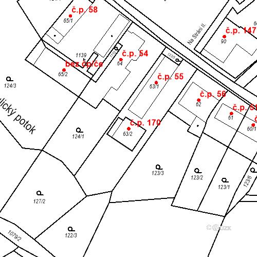 Katastrální mapa Stavební objekt Psáry 170, Psáry