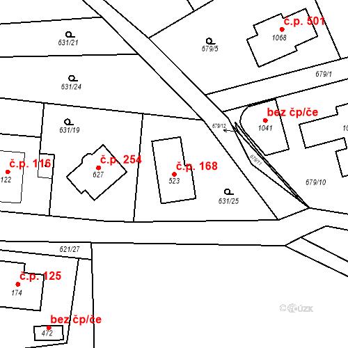 Katastrální mapa Stavební objekt Psáry 168, Psáry