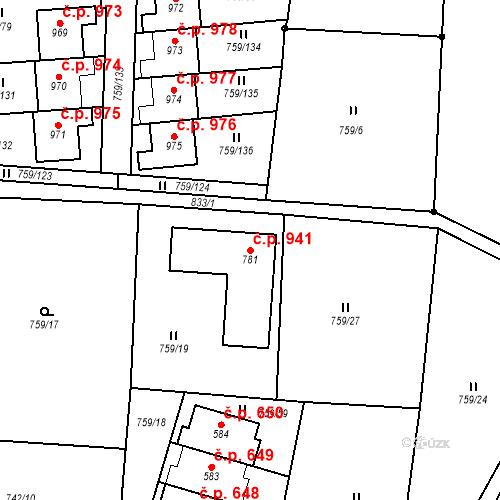 Katastrální mapa Stavební objekt Jesenice 941, Jesenice
