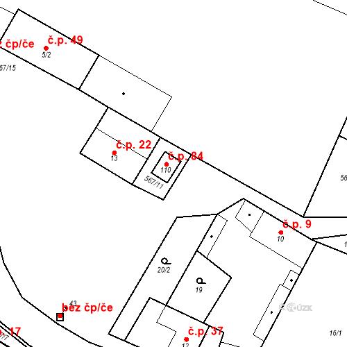 Katastrální mapa Stavební objekt Korycany 84, Neratovice