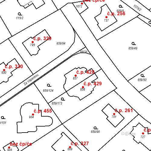 Katastrální mapa Stavební objekt Psáry 428, Psáry