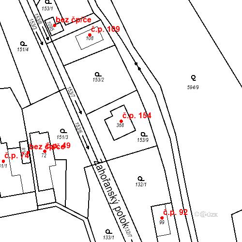 Katastrální mapa Stavební objekt Psáry 154, Psáry