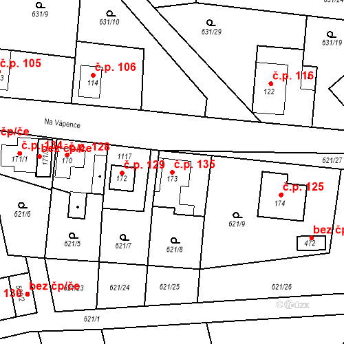 Katastrální mapa Stavební objekt Psáry 135, Psáry
