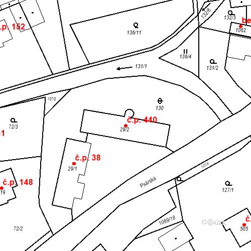 Katastrální mapa Stavební objekt Psáry 440, Psáry