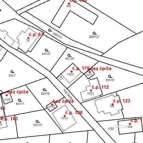 Katastrální mapa Stavební objekt Psáry 178, Psáry