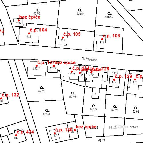 Katastrální mapa Stavební objekt Psáry 134, Psáry