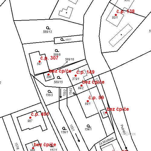 Katastrální mapa Stavební objekt Psáry 149, Psáry