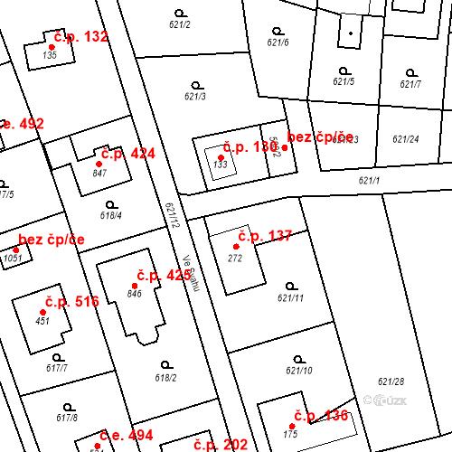 Katastrální mapa Stavební objekt Psáry 137, Psáry