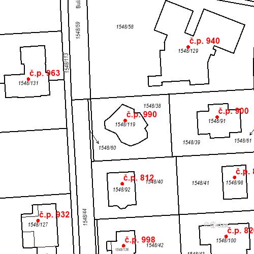 Katastrální mapa Stavební objekt Ďáblice 990, Praha
