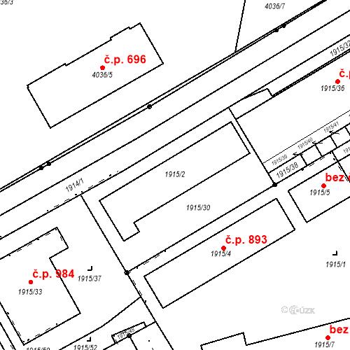 Katastrální mapa Stavební objekt Vysočany 892, Praha