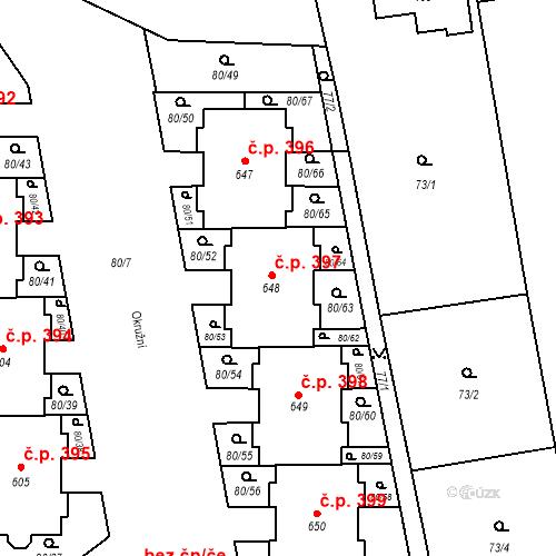 Katastrální mapa Stavební objekt Vestec 397, Vestec