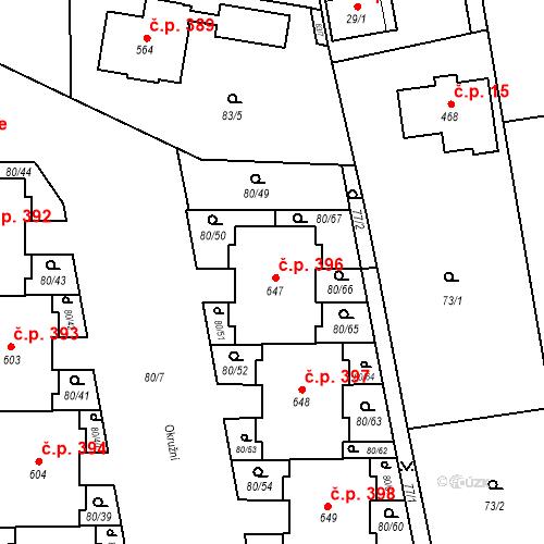 Katastrální mapa Stavební objekt Vestec 396, Vestec