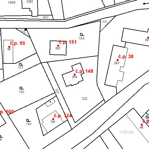 Katastrální mapa Stavební objekt Psáry 148, Psáry