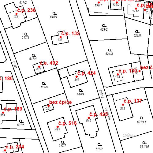 Katastrální mapa Stavební objekt Psáry 424, Psáry