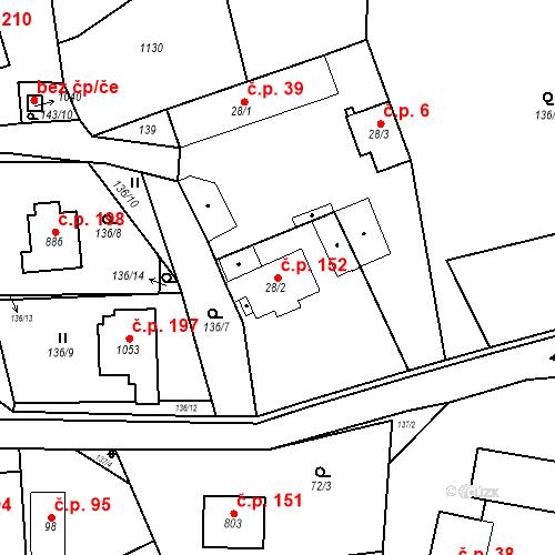 Katastrální mapa Stavební objekt Psáry 152, Psáry