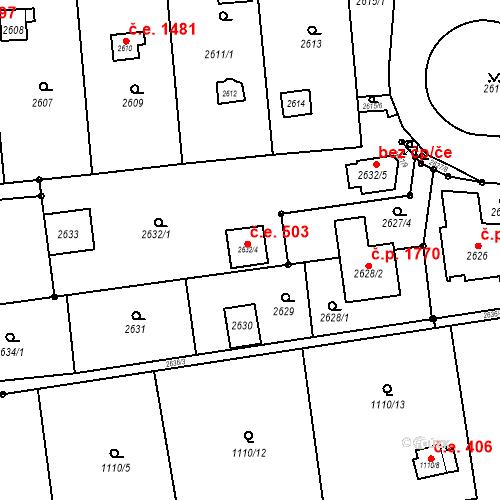 Katastrální mapa Stavební objekt Kunratice 503, Praha