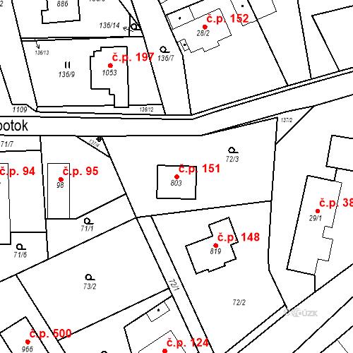 Katastrální mapa Stavební objekt Psáry 151, Psáry