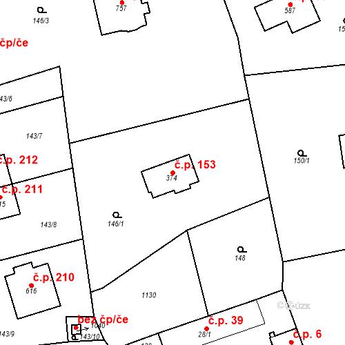 Katastrální mapa Stavební objekt Psáry 153, Psáry