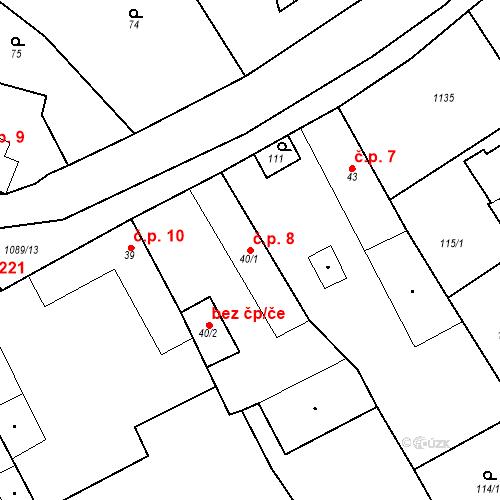 Katastrální mapa Stavební objekt Psáry 8, Psáry