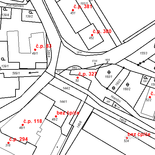 Katastrální mapa Stavební objekt Dolní Poustevna 327, Dolní Poustevna