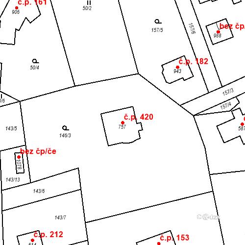 Katastrální mapa Stavební objekt Psáry 420, Psáry