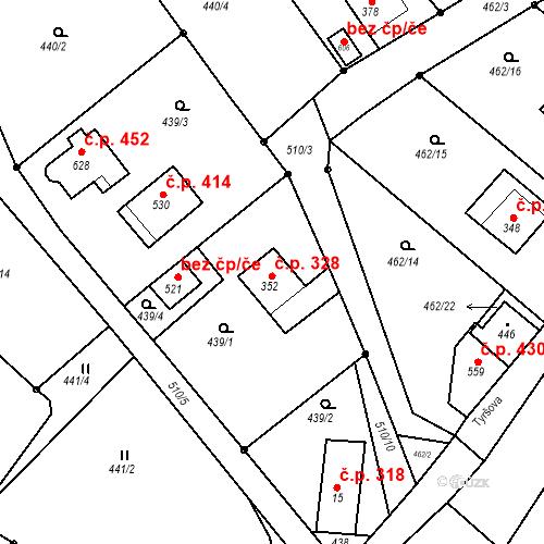 Katastrální mapa Stavební objekt Dolní Poustevna 328, Dolní Poustevna
