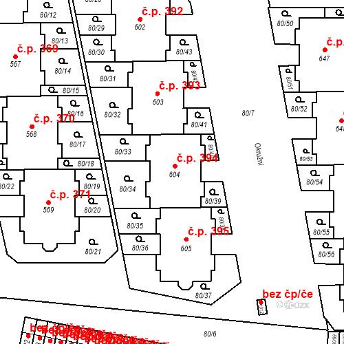Katastrální mapa Stavební objekt Vestec 394, Vestec