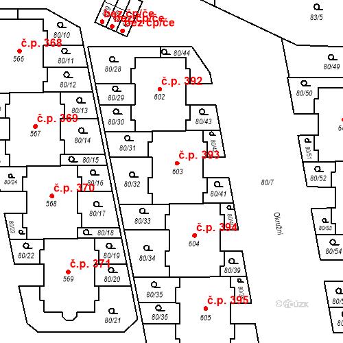 Katastrální mapa Stavební objekt Vestec 393, Vestec