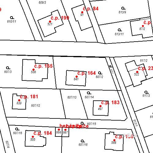 Katastrální mapa Stavební objekt Psáry 164, Psáry