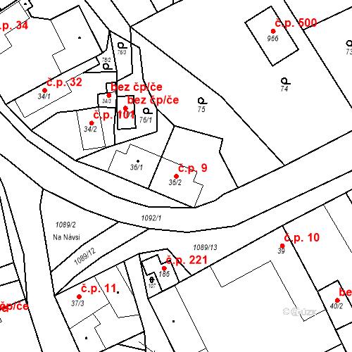 Katastrální mapa Stavební objekt Psáry 9, Psáry