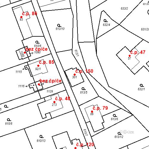 Katastrální mapa Stavební objekt Psáry 150, Psáry