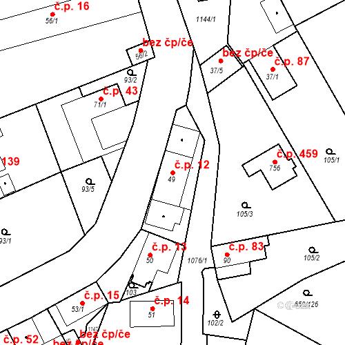 Katastrální mapa Stavební objekt Psáry 12, Psáry