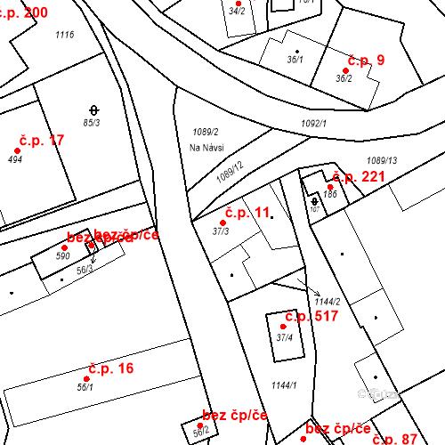 Katastrální mapa Stavební objekt Psáry 11, Psáry
