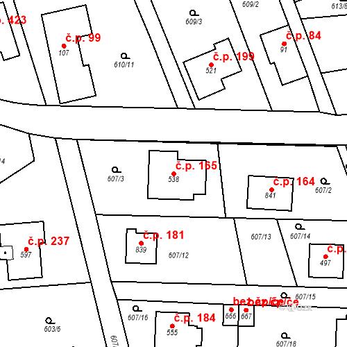 Katastrální mapa Stavební objekt Psáry 165, Psáry