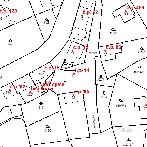 Katastrální mapa Stavební objekt Psáry 14, Psáry