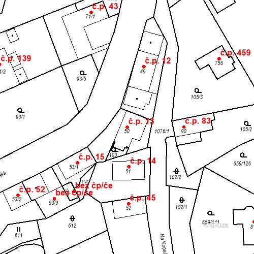 Katastrální mapa Stavební objekt Psáry 13, Psáry