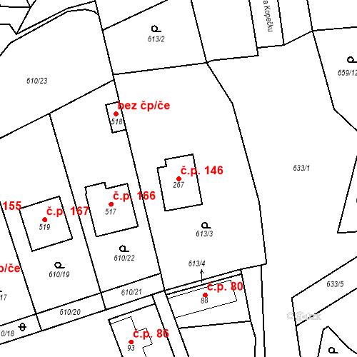 Katastrální mapa Stavební objekt Psáry 146, Psáry