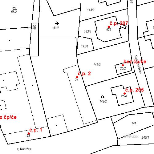 Katastrální mapa Stavební objekt Psáry 2, Psáry