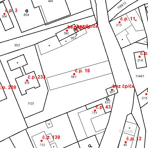 Katastrální mapa Stavební objekt Psáry 16, Psáry