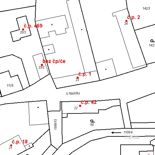 Katastrální mapa Stavební objekt Psáry 1, Psáry